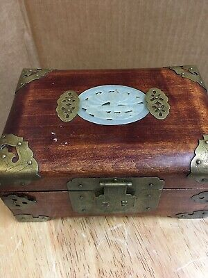 "Vintage Chinese Cherry Wood Jewelry Box Carved Jade Inlay with Brass 5""x 3"""