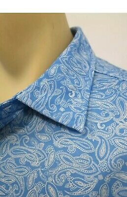 Donald Ross Blue Paisley Mens Size Small Short Sleeve Golf Polo Shirt EUC