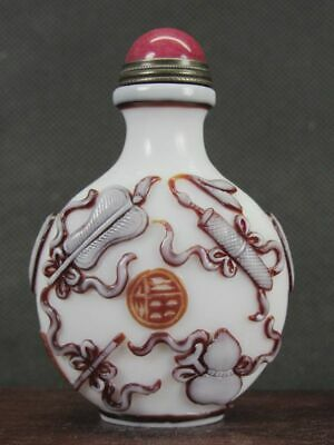 Chinese Eight Immortals Carved Peking Overlay Glass Snuff Bottle