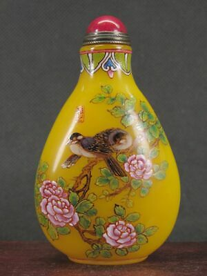 Chinese Plum Blossom Bird Hand Painted Peking Enamel Glass Snuff Bottle