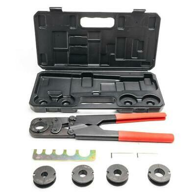 "16"" Steel Manual PEX Pipe Crimping Crimper Hand Tool Kit w/ 5 Jaws + Black Case"