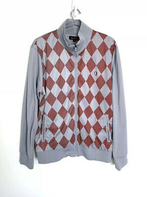 Ben Sherman Men's Full Zip Track Jacket Red Grey Medium Diamond Argyle Retro Mod