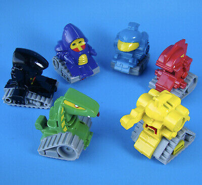 6 Subway Runaway Robots Toys Complete Set Nice Condition - Cool Pull Back Action