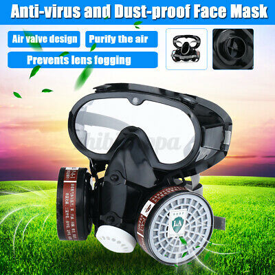 Protect Breathing Face Mask&Goggles Respirator Gas Dustproof With Cotton Filter