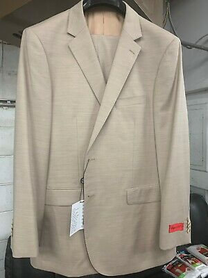 New 44R Men's Beige Suit 100% Wool Super 150 Made in Italy Retail $1295