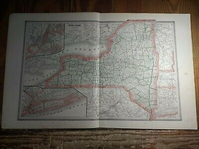Double Page Map of New York - Inset Maps of NYC & LI - Railroads Shown 1885