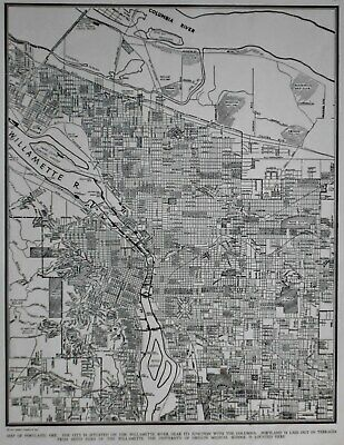*Vintage World War WWII 1941 World Atlas City Map Portland, Oregon OR Beautiful*