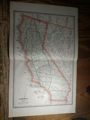 Double Page Map of California - Map of Nevada On Reverse - Railroads Shown 1885