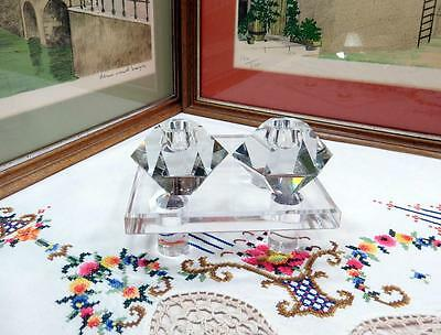 """2 Pc Heavy Crystal Octagon 2 1/8"""" Candle Stick Holders"""