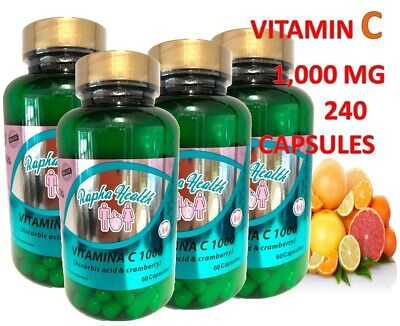 Vitamin C 1000 mg with CRAMBERRY  240 Tablets total Made In USA FREE US SHIPPING
