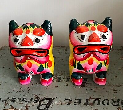 Pair Chinese Hand Painted Foo Dogs Lions Ornaments Vintage Kitsch Antique Rare