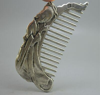Collectable Handwork Decorative Old Miao Silver Carve Classical Belle Noble Comb