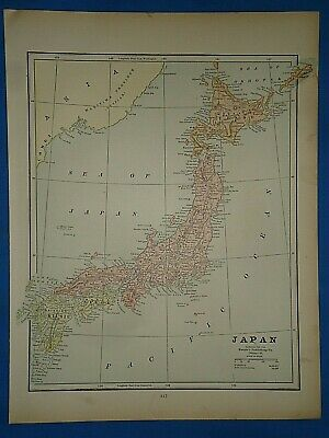 Vintage 1891 MAP ~ JAPAN ~ Old Antique Original Atlas Map