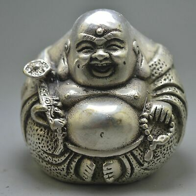 Collectable Handwork Decorative Old Miao Silver Carve Pray Smile Buddha Statues