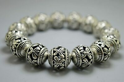 Collectable Handwork Old Miao Silver Carve Hollow Out Flower Bead Bracelet Noble