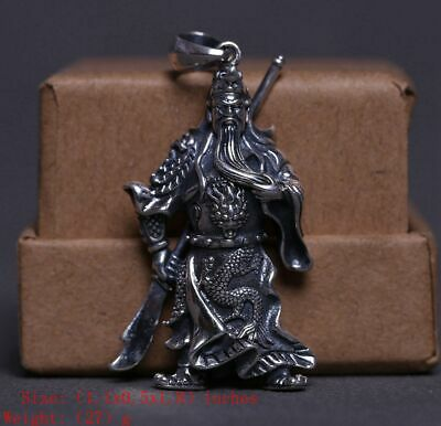 925 Silver Real Silver Solid Silver Pendant Guangong Old Handmade Crafts Mascot