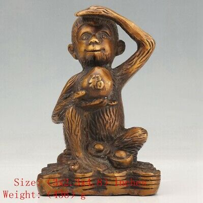 Unique Chinese Brass Statue Monkey And Peach Family Decoration Christmas Gifts
