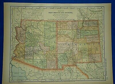 Vintage 1892 ARIZONA & NEW MEXICO TERRITORY MAP Old Antique Original Atlas Map