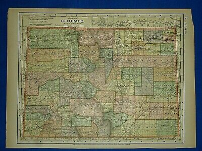 Vintage 1892 COLORADO MAP Old Antique Original Atlas Map