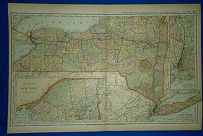 Vintage 1892 NEW YORK STATE MAP Old Antique Original Atlas Map