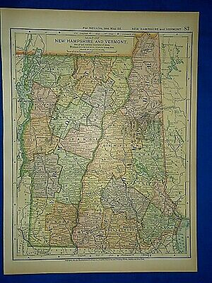 Vintage 1892 NEW HAMPSHIRE & VERMONT MAP Old Antique Original Atlas Map