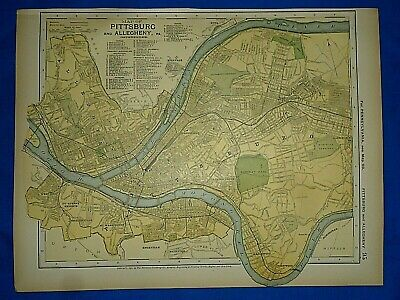 Vintage 1892 PITTSBURGH ( PITTSBURG ) & ALLEGHENY MAP Old Antique Original