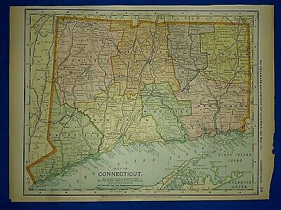 Vintage 1892 CONNECTICUT MAP Old Antique Original Atlas Map