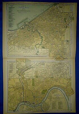 Vintage 1892 CLEVELAND & CINCINNATI, OHIO MAP Old Antique Original Atlas Map