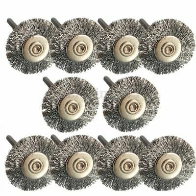 10x 22mm Wire Wheel Polish Brushes For Dremel Rotary Grinder Accessories Tool S