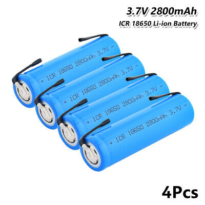 4x 2800mah flat top 18650 battery 3.7v rechargeable li-ion batteries with tabs