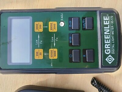 Greenlee Digital Light Meter 93-172 Green Lee Lux Measurement Detector Sensor