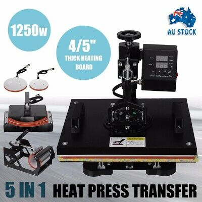 1250W 5in1 T-Shirt Heat Press Transfer Sublimation Plate Cap Printer Swing Away
