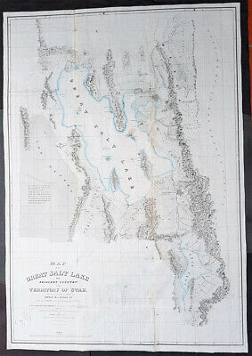 1852 Howard Stansbury Large 1st Antique Map The Great Salt Lake & City of Utah