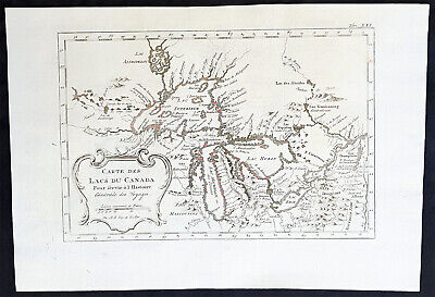 1757 Nicolas Bellin Antique Map of the Great lakes of North America
