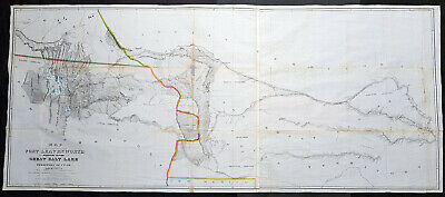 1852 Howard Stansbury Large Antique Map Forth Leavenworth, KS to Salt Lake, Utah