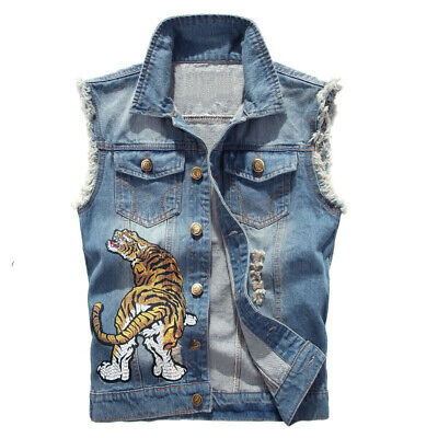 Men's Denim Jean Top Jacket Sleeveless Vest Coat Shirt Embroidery Tiger