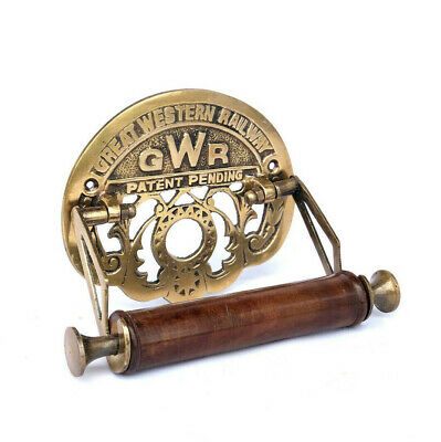 GWR Toilet Roll Holder Brass Old Novelty Retro Victorian Shabby Antique Finish