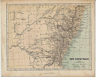 c1890 ANTIQUE MAP STATE OF NEW SOUTH WALES AUSTRALIA