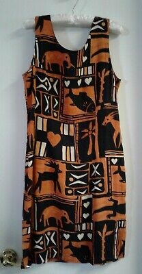 Pineapple Moon Junior Girls Orange & Black Animal Dress L ( with flaw see photo)