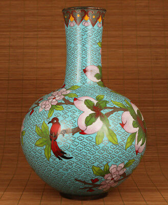 big chinese royal cloisonne hand carved peach bird vase collectable ornament
