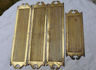 4 Antique Reclaimed Victorian ? Thick Brass Ribbed Door Finger Push Plates