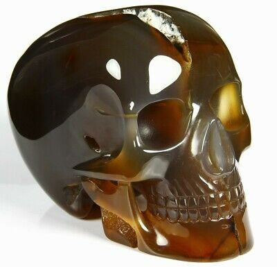"""Huge 5.0"""" CARNELIAN Carved Mitchell-Hedges Crystal Skull Replica, #114"""