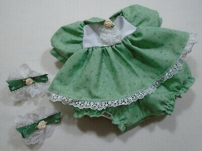 My Child Handmade Green Leaf Pattern Doll Dress, Panties And Hair Accessories