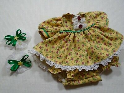 My Child Handmade Yellow Floral Doll Dress With Complementary Hair Accessories