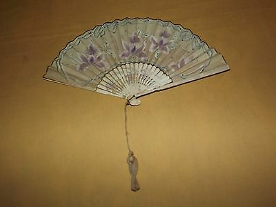 "Vintage 8 3/4 "" High Flower  Hand Fan"