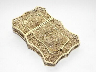 ANTIQUE CHINESE EXPORT SOLID SILVER GILT FILIGREE CARD CASE CLAW DRAGONS c1870