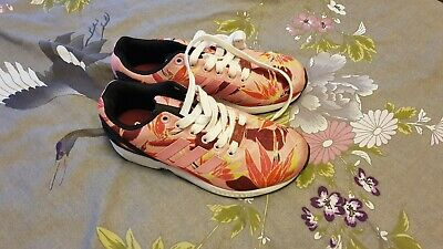 Adidas girls ladies ZX Flux Torsion pink floral sports trainers UK 4