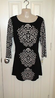 Womens JM Collection Black/White Silver Studs Tunic Size M NWT