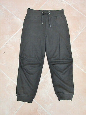 US Apparels - Girls Black Cuffed Cropped Jogging / Leisure Bottoms - size S/M