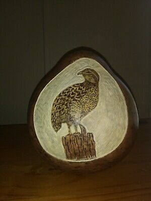 Carved gourd, quail, bird, leather stained, original, homemade